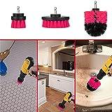Starall 3 PCS automatische Bohrbürsten-Reiniger-Wäscher-Wannen-Reinigungs-Werkzeug-Bürsten für Küche, Fliese, Auto (Rot)