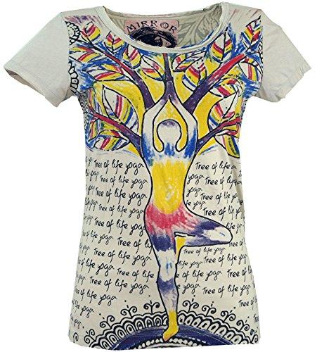 Guru-Shop Mirror T-Shirt, Damen, Yoga/Beige, Baumwolle, Size:L (40), Bedrucktes Shirt Alternative Bekleidung -