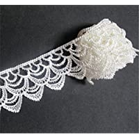 3 Meters Polyester Crochet Lace Edge Trim Ribbon 5 cm Width Vintage Style Edging Trimmings Fabric Embroidered Applique Sewing Craft Wedding Dress Embellishment DIY Decor Clothes Embroidery (White)