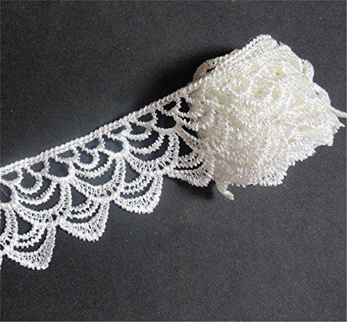 3 metres Polyester Crochet Dentelle ruban 5 cm de largeur Style vintage Blanc Bordure garnitures Tissu brodée Applique à coudre Craft robes de mariage Décoration DIY Décor Vêtements à broder