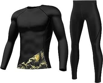 SKYSPER Set Biancheria Intima Termica, Tuta da Allenamento Aderente Antivento Inverno Autunno Maglia Termica + Pantaloni Termici per Corsa Sci Palestra Ciclismo Fitness