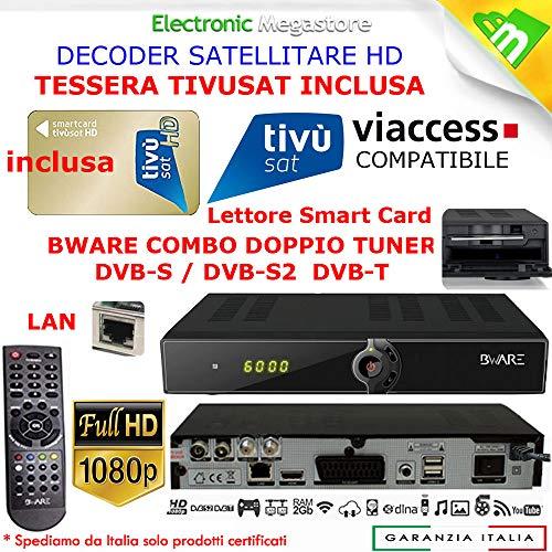 Decoder Satellitare HD compatibile con tessera Tivusat è con tessere Viaccess CON TESSERA TIVUSAT INCLUSA Bware COMBO