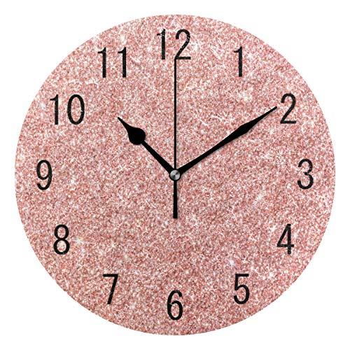 Use7 Home Decor Wanduhr, Acryl, Rosegold/rosa, glitzernd, rund, geräuschlos, für Wohnzimmer, Küche, Schlafzimmer