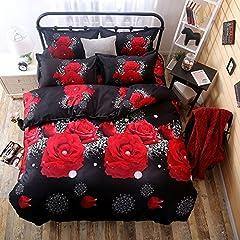 Idea Regalo - Tinghan 4pcs set di biancheria da letto 3D Pearl fiore rosso lenzuola stampato copripiumino matrimoniale