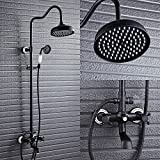Duschsystem Aus Messing,Duscharmatur+20 cm Regendusche mit Handbrause,3 Funktion Wasserablauf Duschset für Bad/Badewanne,Gebürstete Bronze