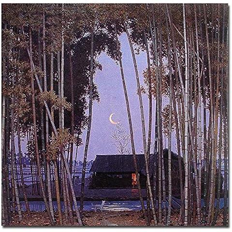 lotuslife dipinti villaggio scena notturna Luna Cane e bamboopaint con stampa artistica su tela decorazione da parete, Tela, Framed(20x20Inch) - Originale Cane Pop Art