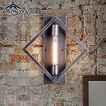 BBSLT Pasillo pared lámpara hierro industrial restaurante creativo retro bar barra lámpara de pared de la escalera cuadrada 350 * 360 * 80 mm