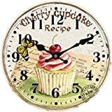 hylaea New Cupcake Copa Cake Wall Clock para Wall Room Hotel escenario y Cake Store, madera, Couleur1, diámetro 30 cm
