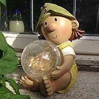 Lilly Elf Resin Garden Ornament with Solar Powered Illuminating Colour Change Ball, Fairy, Troll, garden light ...