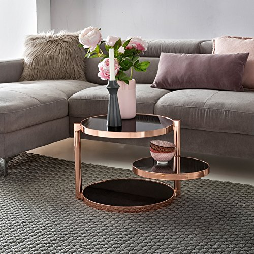 Home Collection24 Table Basse Design en métal et Verre Noir Ø 45 cm Table de Salon 3 Niveaux Table d'appoint en Verre Ronde Ronde