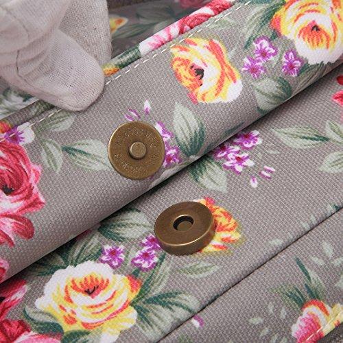 Miss Lulu Florale quadratische Schulter-Umhängetasche matt aus Wachstuch 1657Grey