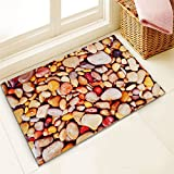 Story@Home Designer Stone Pattern Fancy Super Soft Anti Skid Door Mat for Home, Kitchen and Office -(Brown, 40cm X 60cm)