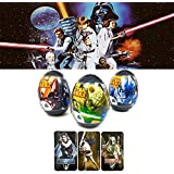 """Set Of 3 Super Surprise Eggs """"Star Wars"""" With Puzzle And 3d Card From Cartoon"""