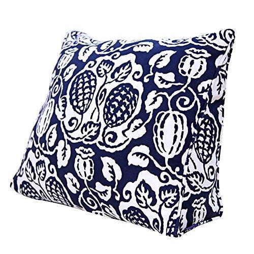 45 * 40 * 15 cm, 60 * 50 * 25 cm, Oreiller Triangle, canapé Coussin de Chevet, Jardin Fleur Plante Fleur Bleu Vigne Coussin (Taille : 60 * 50 * 25cm)
