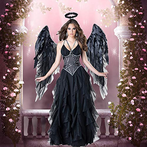 WANLN Erwachsene Frauen Halloween Evil Engel Kostüm Black Party Maskerade Cosplay Kleider Scary Mage Uniformen wigh Wing,OneSize