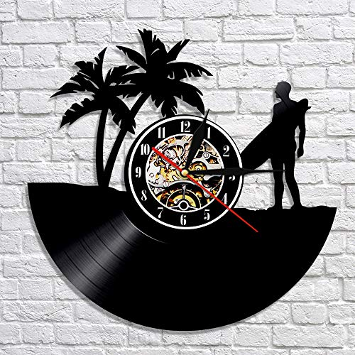 Surfer Licht (gjdm Wanduhr Surfen Led Light Vinyl Record Mit Farbwechsel Licht Windsurfen Surfer Time Cool Living Room Decor Und Dekoration Für Das Home School Hotel Cafe)