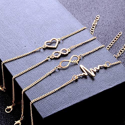 SHOUAQI Armband 4 Teile/Satz Gold Farbe Kristall Hochzeit Armbänder Set Stein Herz Armbänder Armreifen für Frau 1226 Crystal