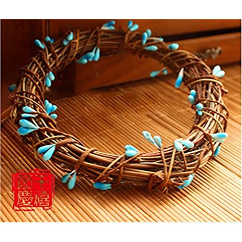 Xmas decorativi artificiali?Ghirlanda di Natale Natale aghi di pino Rattan ornamenti di anello 20CM Ghirlanda blu