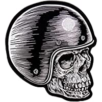 SKULL RIDER HEAD, High Thread Embroidered Iron-On / Saw-On Rayon PATCH - 4