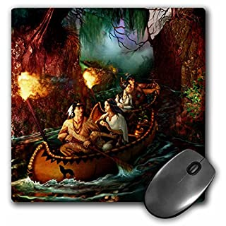 3dRose mp_11658_1 8 x 8-Inch Native American Family from Long ago on a Journey Down The River by Canoe Mouse Pad