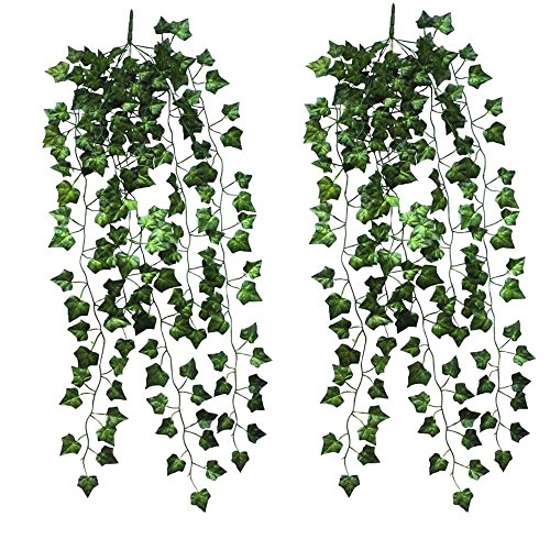 Hängende Kunstpflanze Deko Blumen 90cm Efeu Efeuranke(2er Pack)