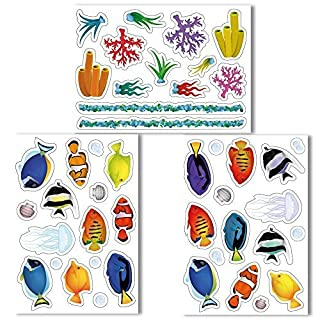 Beautiful Fish Window Clings by Articlings - Lots of Different Varieties - Non-adhesive Stickers Quickly Design a Fish Tank on your Windows