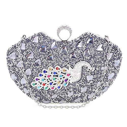 Damara Pochette de Soirée Femme Noble Raffiné Synthétique Image de Paon argent