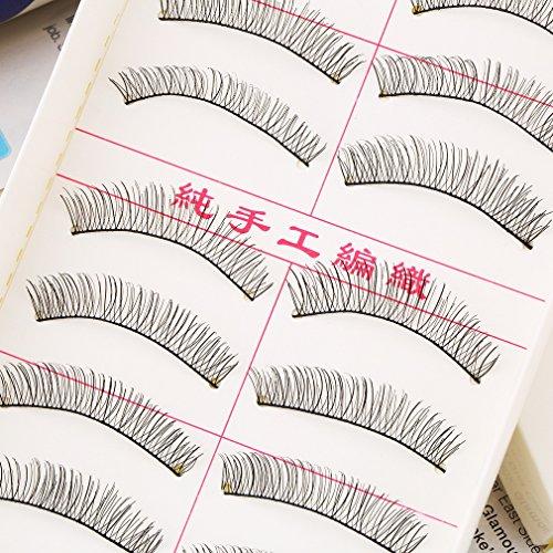 1SET/10coppie Handmade ciglia finte ciglia finte naturale trasparente nero per donne