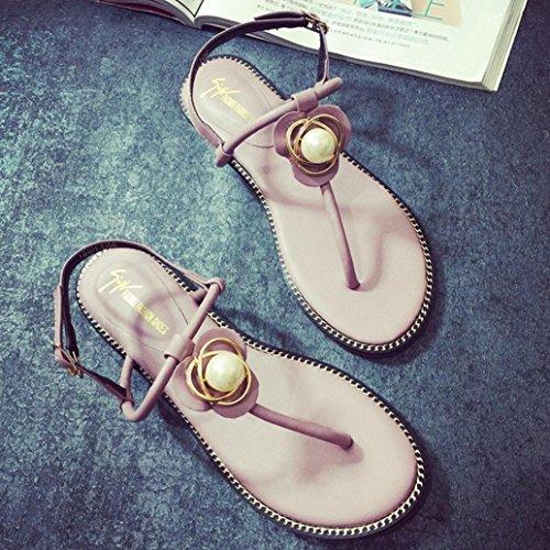 DM&Y 2017 Sommer-koreanische Version der Perle Diamant Klippzehe flachen Sandalen Frauen mit flachen Flip Sandalen Pink