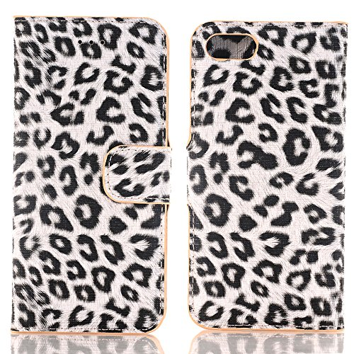 iPhone 7 Plus Handyhülle, TechCode® Bunte Retro Muster Druck Flip PU Leder Tasche Case Hülle im Bookstyle mit Kartenfächer mit Weich TPU Innere Hülle Case für Apple iPhone Leopard Fur Waterpaint Pattern Case Cover For iPhone 7 plus (iPhone 7 Plus, A02)