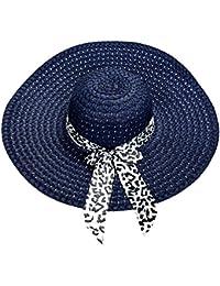 TOOGOO(R) Dark Blue Summer Exquisite Leopard Ribbon Bowknot Decorated Openwork Sun Hat For Women