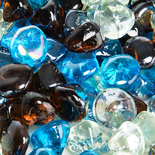Stanbroil 0,3 kg 1/2 Feuerglas-Diamanten, Karibikblau, Kristalleis, Bernstein-Lüster für Innen- und Außenbereich, Gasfeuerstellen und Kamine -
