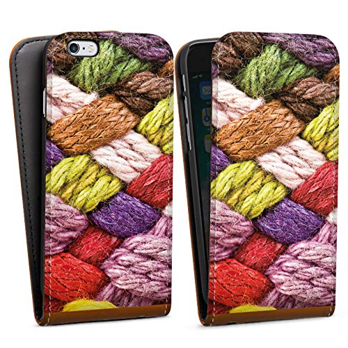 DeinDesign Apple iPhone 6 Flip Case Tasche Hülle Wolle Look Stricken Colourful