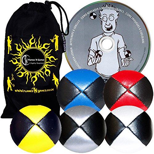 Jonglierbälle 5er Set - Profi Beanbag Bälle aus Glattleder (Leather) + Jonglieren Lernen-DVD (Englisch) +Tasche. Komplett-Set Ideal Für Anfänger Wie Auch Für Profis.