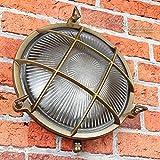 Wandlampe Außen Antik Echt-Messing Rostfrei E27 Riffelglas Käfigschirm IP64 Feuchtraumleuchte Außenleuchte Haus - 3