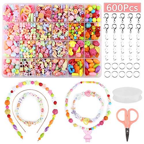 Nasharia Perlen zum auffädeln Kinder Schmuck Schnurset, kinderschmuck mädchen DIY Freundschaftsarmbänder Halsketten Kunsthandwerks-Set für Mädchen Kinder, 24 Farben(600 PCS) -