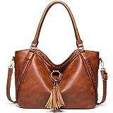 Handtasche Damen Shopper Groß Schultertasche Umhängetasche Lederhandtasche Beiläufig Damen Geldbörse Tragetasche Quaste Hobo