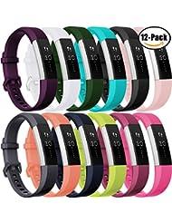 HUMENN Bracelet Pour Fitbit Alta et Alta HR, Bande de Remplacment TPU Réglable Accessoire for Fitbit Alta (HR) Small Large