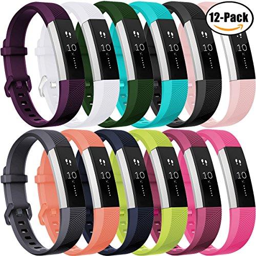 Für Fitbit Alta HR Armband, HUMENN Fitbit Alta Armband Verstellbares Sport Ersatz Band Ersatzarmband Wristband Silikonarmband Fitness Zubeh?rteil mit Metallschlie?e Small # 12Pack