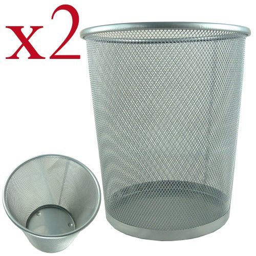 2 x Lightweight and Sturdy Circular Mesh Waste Bin (Silver) Test