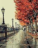 Tonzom Holzrahmen Malen nach Zahlen 40 x 50cm DIY Leinwand Gemälde für Erwachsene und Kinder mit 3 Bürsten und Acrylfarben - Begleite dich durch den Herbst zu reisen