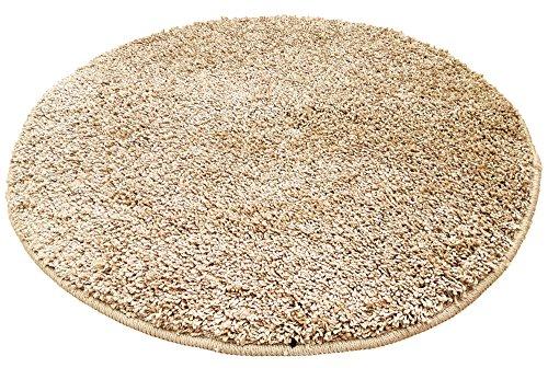 Resibano Badteppich Rund, 65 cm Durchmesser, 15mm Flor, Rutschhemmend, Badvorleger, Bettvorleger (Beige)