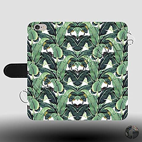 Banana Leaf Pattern Wild Painting Water Colours Faux Leather Magnetic Clasp Holder Phone Case Cover for iPhone SE