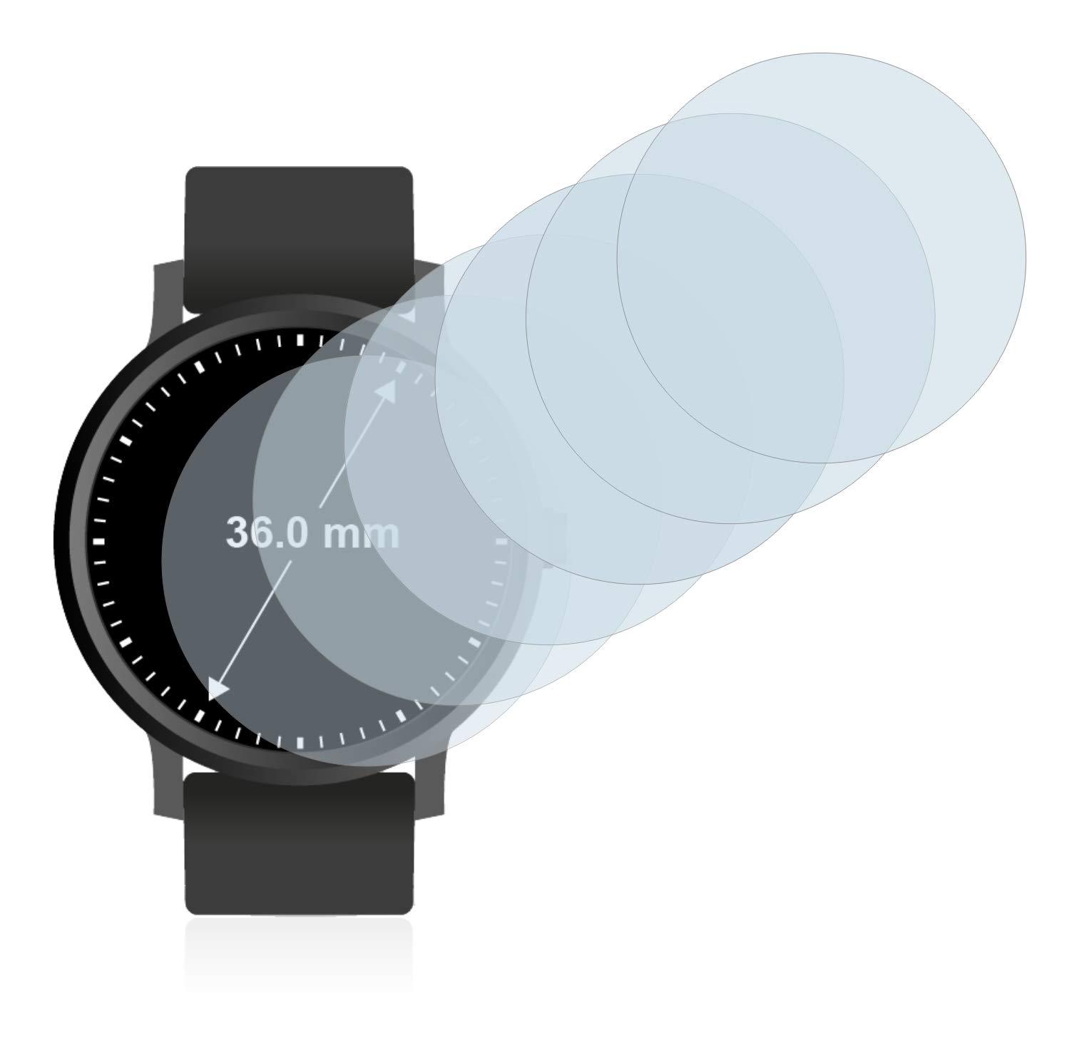 savvies Protector Pantalla Compatible con Relojes (Circular, Diámetro: 36 mm) (6 Unidades) Pelicula Ultra Transparente 2