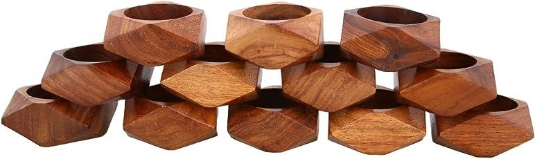 Shalinindia Handmade Wood Napkin Ring Set - Artisan Crafted in India