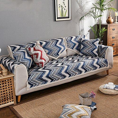 Wayward Stripe Sofa Handtuch,Chenille Sofa Cover Protector,Nordische Spitze Möbel Protector Multi-Size Gewebt Anti-rutsch-Sofa slipcovers Multi-Size Staubschutz-Blau 110x180cm(43x71inch) - Chenille Multi Stripe