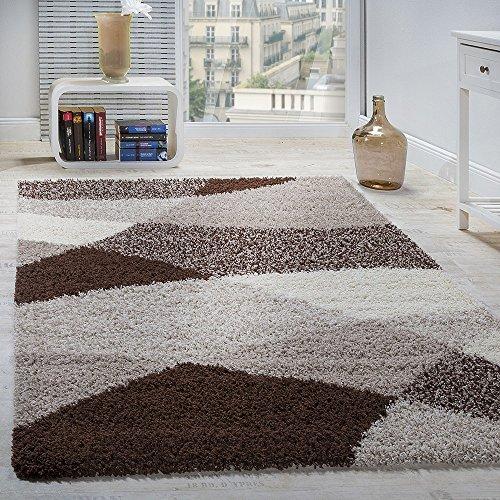 Tappeto shaggy a pelo alto a pelo lungo decorato nei colori: grigio marrone bianco, dimensione:200x280 cm