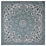 Bandana / Bandanas mit exclusivem Paisley Muster in reiner Baumwolle, Grau, 55x55cm