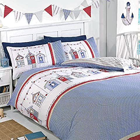 Just Contempo Seaside Beach Hut Duvet Cover Set - King, Blue