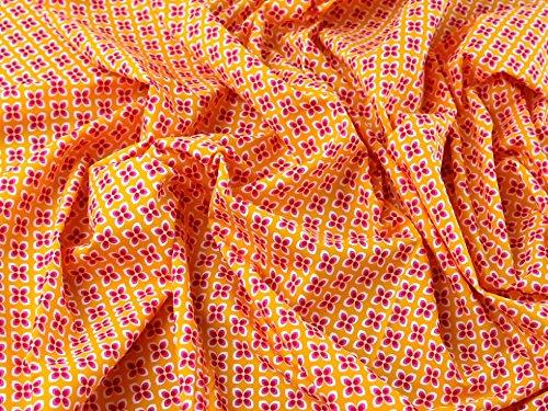 Little Daisy Retro Print Baumwolle Popeline Kleid Stoff pink & orange-Meterware + Craft Guide -